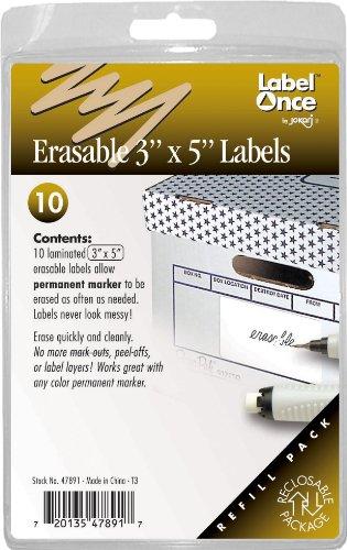 Jokari Label Einmal radierbar 7,6x 12,7cm Etiketten Nachfüllpack, 10Count