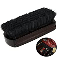 TENDYCOCO Boot Brush Cleaner Shine Shoes Brush Pig Bristles Shoes Cleaner with Wood handle (Black)