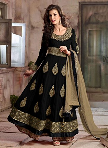ethnicwear9da donna tradizionale netto Ricamato lungo Anarkali Salwar Kameez Black