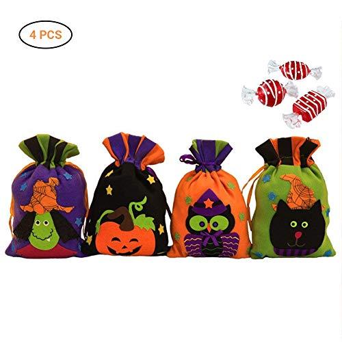 (AimdonR Kreative Halloween Kürbis Kordelzug, Ghost Kids Süßes oder Saures Süßigkeitstaschen, Vlies schwarze Katze Geschenk, Halloween Eule Tasche, Hexentasche, Kordelzug, Halloween Kinder Spielzeug)