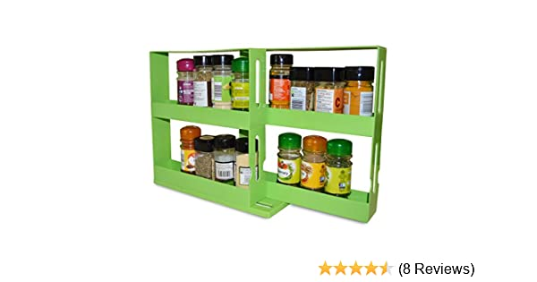 AITOCO Spice Organizer,Cabinet Caddy,Modular Rotating Spice Rack Multi-functional Organizer Seasoning Storage Rack Two 2-Tiered Shelves with Base