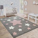 Paco Home Alfombra Habitación Infantil Estrellas Grandes Y Pequeñas En Gris Y Rosa, tamaño:80x150 cm