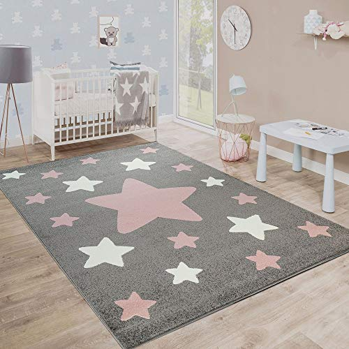 Paco Home Alfombra Habitación Infantil Estrellas Grandes Y Pequeñas En Gris Y Rosa, tamaño:160x220...