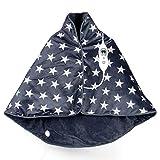 VIDABELLE VD-4602 Wärme-Cape in dunkel grau mit hellgrauen Sternen, Heizdecke zum Rüberlegen für Rücken, Nacken und Schulter, Wärmedecke mit 6 Temperaturstufen, inklusiv Abschaltautomatik