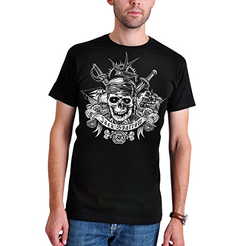 Fluch der Karibik Herren T-Shirt Jack Sparrow Skull zu Teil 5 Elbenwald Baumwolle schwarz - XXL (Commodore Norrington Kostüm)