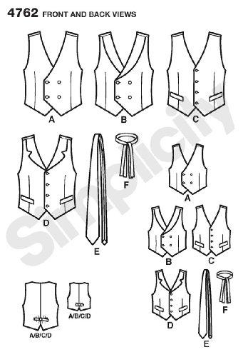 Simplicity Schnittmuster 4762 Westen und Krawatten für Kinder und ...