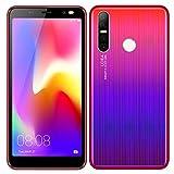 Móviles y Smartphones Libres, 5.5 Pulgadas Android GO Teléfono (5.0MP HD Cámaras,Dual SIM,1GB RAM & 4GB ROM (GPS,WiFi,Bluetooth etc.) (ShaQx P17-Gradiente Rojo)