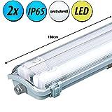 2x 44 W LED Decken Lampen Röhren Industrie Leuchten Feuchtraum Hallen Strahler