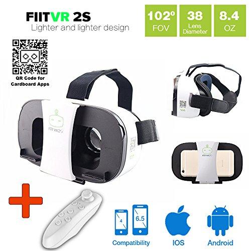 Vr-primus fiit vr 2 + telecomando bluetooth - occhiali per realtà virtuale - per smartphone android e ios come iphone, samsung galaxy, htc, sony, lg, huawei, motorola, zte, pixel e altro - compatibile con google cardboard app - 3d cuffie visori per realtà virtuale per cellulari - occhiali vr / rv per telefono fit vr - bluetooth gamepad controller joystick - ( nero )