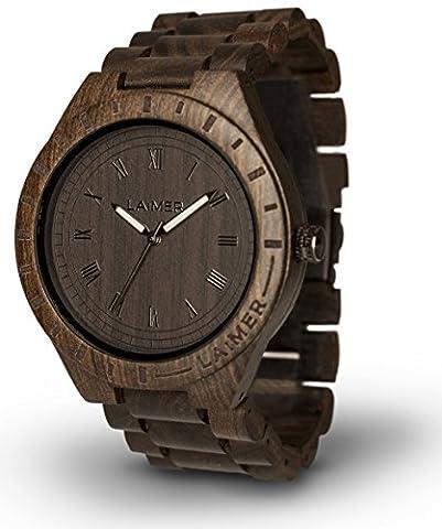 LAiMER Holzuhr BLACK EDITION - Herren Armbanduhr aus 100% Sandelholz