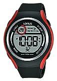 Lorus nero & rosso digitale orologio sportivo cinturino in silicone nero R2379LX9