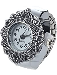 SODIAL(R) Anillo Reloj Tibet plata Forma Flor Ajustable Nuevo 22mm