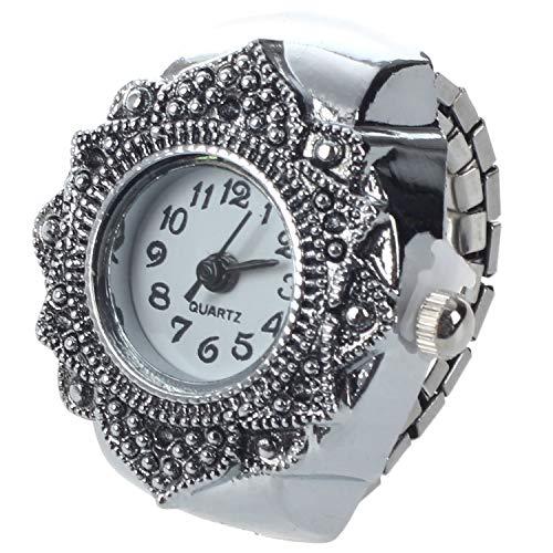 SODIALR Anillo Reloj Tibet plata Forma Flor Ajustable