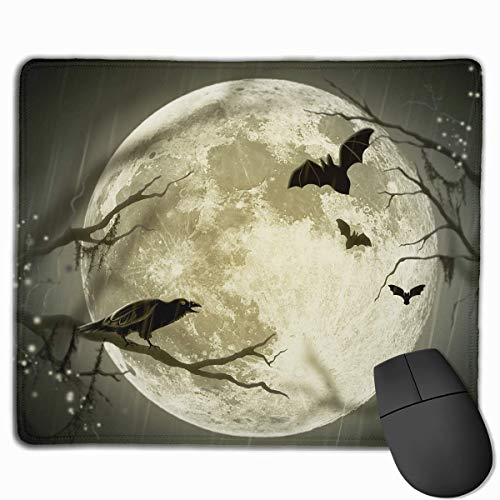 ASKSSD Mouse Pad Halloween Moon Illustration Art Rectangle Rubber Mousepad 11.81 X 9.84 Inch Gaming Mouse Pad with Black Lock Edge