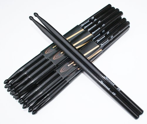 12 Paar Drumsticks 5B Schwarz (24 Stück)