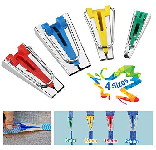 VDSOW 4 Stück Schrägbandformer, Schrägbandformer Set für Aufbügelbares Schrägband 6 mm, 12 mm, 18 mm und 25 mm, Stoff Bias Tape Maker Edelstahl Quilting Binding Werkzeug Nähen Zubehöre für Kurzwaren