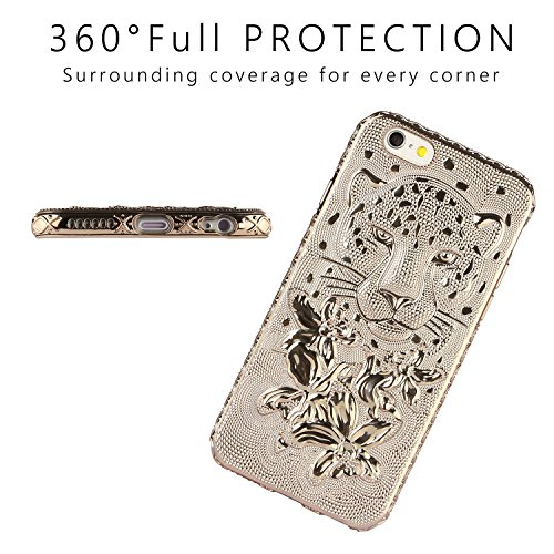 FOGEEK Schutzhülle iPhone 6 Plus Hülle : Schick Leopard-Kopf TPU Ultra Slim Anti Kratzer Schlank Tasche Schutzhülle für iPhone 6/6s Plus mit Tempered Glass Screen Protector- Rose Gold gold