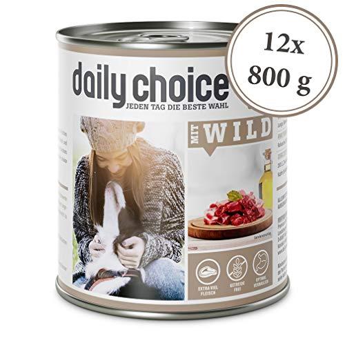 daily choice | 12 x 800 g | Nassfutter für Hunde | getreidefrei | Mit Wild | 70{5dc20eee4bf71e7439d5915b7dd613d01e39846af350886c6e7247140ebe0843} Frischfleisch- und Innereienanteil Optimale Verträglichkeit