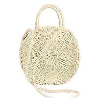 Tomwell Chic Handmade Rattan Woven Round Handbag Vintage Retro Straw Knitted Messenger Bag Lady Summer Beach Shoulder bag B Beige(28x28x10cm) One Size