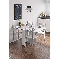 Mesa cocina comedor salon oficina extensible con 2 alas BLANCA