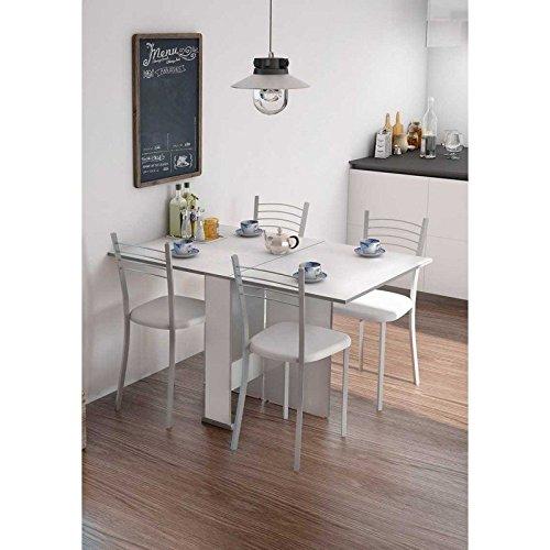 HOGAR24 Mesa Cocina Comedor Salon Oficina Extensible con 2 alas Blanca