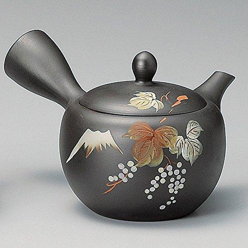 Yamakiikai Tokoname Negro Kyusu(Japonés tetera) Japonés Hojas patrón con un colador de 290cc M542 de Japón