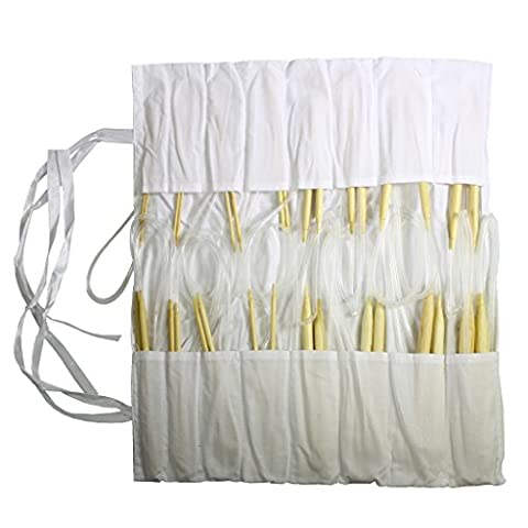 16 Piece Circular Bamboo Knitting Needle Set by Curtzy - 8 Pairs of 40cm (15.7 Inch) Wooden Knitting Needles - Sizes 2mm - 12mm in Cotton Storage Case. Perfect for Beginners & Experienced