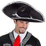 Schwarzer Sombrero Mexikanischer Hut Mexikaner Partyhut Mexiko Sommerhut Gaucho Tequila Party Sonnenhut Fasching Kopfbedeckung Faschingshut Karneval Kostüm Zubehör