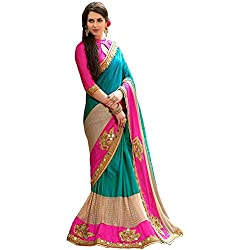Saree Corner Women's Pink Embroidered Half And Half Crap Silk Saree With Blouse Material