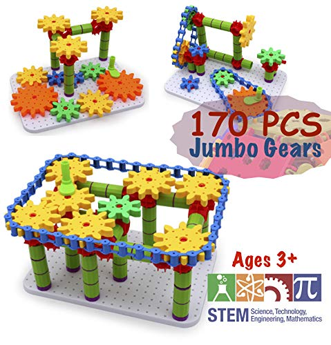 TechMagne - Jumbo Gears Set For STEM Learning | Kids Educational STEM Toys  Age 3+ | STEM Building Toys For Kids | 170 Piece Set With Resizable