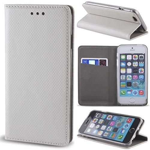 Smart Magnet Premium Flip Cover Schutz Hülle Handy Tasche Etui Case für HTC Desire 728 in Metallic