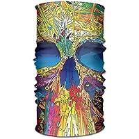 Fsrkje Colorful Skull Headwear Bandanas Seamless Men Women Headwear 12-in-1 Stretchable Magic
