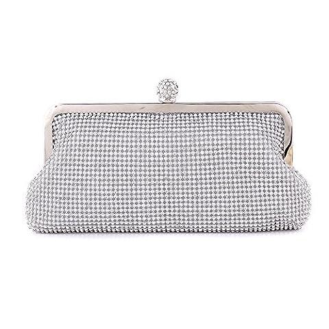 S Lady Designer Crystal Satin Silver Crystal Diamante Evening Party Clutch Purse Handbag