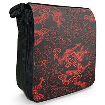 Red Chinese Dragons Small Black Canvas Shoulder Bag / Handbag