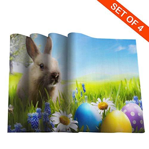 Ostern 3D Bunny Tischsets Set Von 6 Hitzefleck Beständig rutschfeste Waschbar Tischsets Küche Esstisch Dekoration, (45X30 cm)