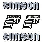 Set: Aufkleber Klebefolie für Simson S51 Enduro Silber für Tank und Seitendeckel