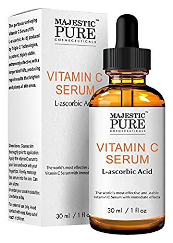 Vitamin C Serum For Age Spots,Wrinkles, Sun Damage And Dark Circles Under The Eyes From Majestic Pure, 30Ml
