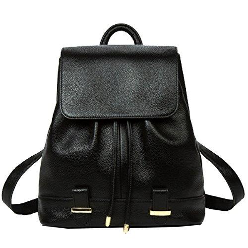 Yy.f Neue Leder-Umhängetasche Rucksack Und Praktische Handtasche Zustrom Von Frauen Beiläufige Art Und Weise Der Erste Schicht Von Ledertaschen Taschen Farbe 2 Black