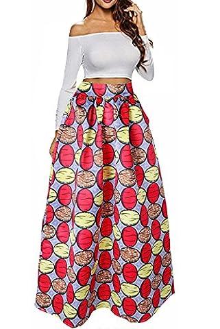 NEWISTAR Women A Line Flared High Waist African Maxi Skirts