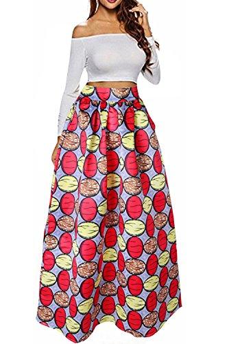 NEWISTAR Frauen A Line Flared High Taille Maxi Röcke mit Pocket Plus Size (XXL) (Circle Silk Rock)
