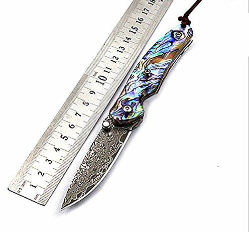 Mixte Adulte Couteau Pliant Acier Outils Couteau Pocket Knife Damascus Blade Folding Knife Abalone Shell Handle Couteau à Lame en Acier de Damas Couteau Pliant avec Coquille d'haliotide
