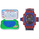 Aquaras MINI Educational LEARNING LAPTOP AND Spiderman KIDS PROJECTOR WATCH
