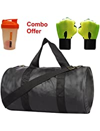 SKYSONS Gym Bag Combo Set Enclosed With Soft Leather Gym Bag For Men And Women For Fitness - Bag Size 49cm X 24cm...