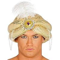 Fancy Me Uomo argento arabo piuma bianca turbante genio costume  travestimento cappello accessorio 5087bcdf2ef8