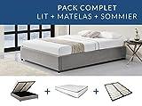UsineStreet Ensemble lit coffre OLGA avec matelas à mémoire de forme + sommier à lattes - Couleur - Gris clair, Largeur - 160 cm, Matière - Tissu
