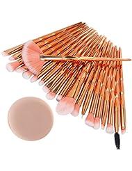 99L'amour Pinceau de maquillage diamant,Professional Maquillage Set de brosse Maquillage Kit de Toilette Set de Brosse(20 pièces+1 beau cadeau) (C)