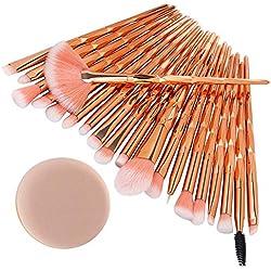 ITISME-ITISME-20 Pcs/Set Maquillage Brush Set Makeup Brushes Kit Outils Maquillage Professionnel Maquillage Pinceaux Yeux Pinceau Pour Les +1Pc Houppettes à Poudre