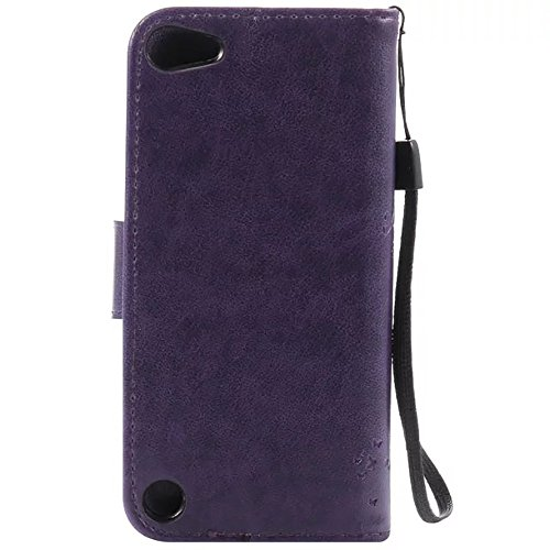 iPhone Case Cover Gaufré Fleurs Cat et Arbre de cas, solide étui en cuir couleur PU Cover Silicone Wallet Support Avec dragonne pour IPod Touch 5 ( Color : Black , Size : IPod Touch 5 ) Purple
