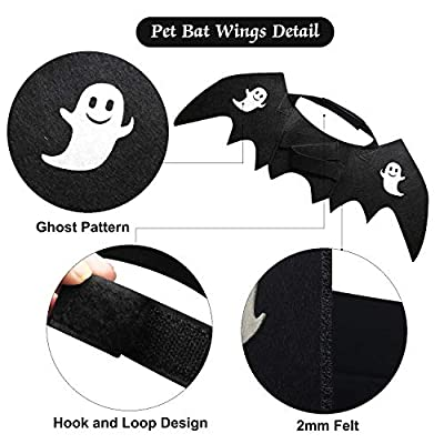 HusDow Halloween Cat Costume Pet Bat Wings with 2pcs Pumpkin Bells for Puppy Dog Cat Halloween Outfit from HusDow