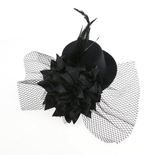 TINKSKY motif fleur cheveux clip chapeau fascinators burlesque punk mini cylindres pour femme (noir)